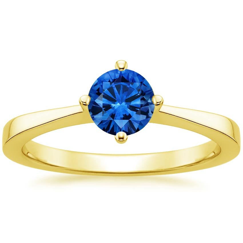 Sapphire True North Ring in 18K Yellow Gold with 5.5mm Round Blue Sapphire