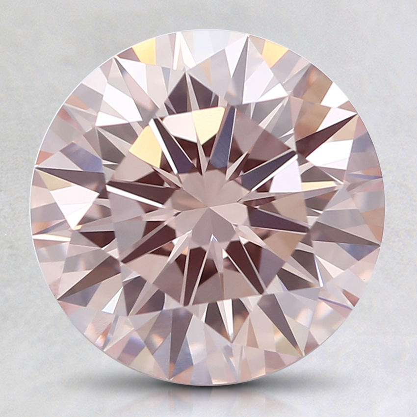 2.34 Ct. Fancy Orangy Pink Round Lab Created Diamond