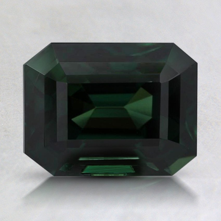 8x6.2mm Premium Teal Emerald Sapphire, top view