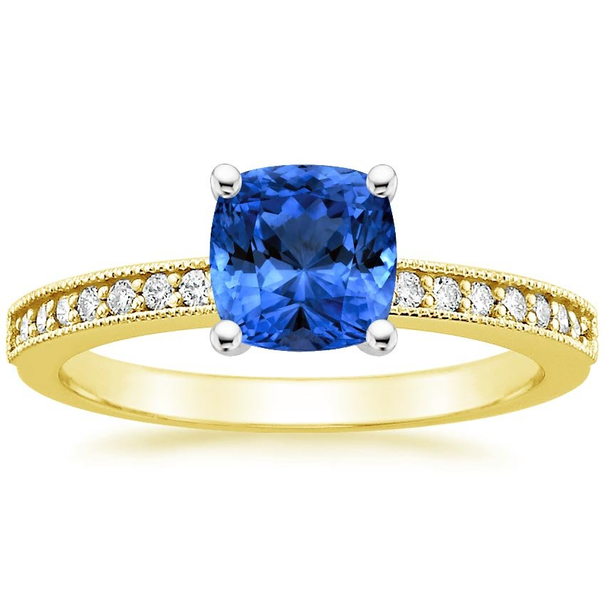 18K Yellow Gold Sapphire Pavé Milgrain Diamond Ring, top view