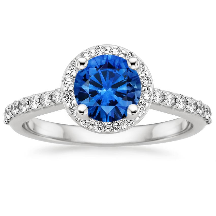 Sapphire Halo Diamond Ring with Side Stones 1 3 ct tw in 18K