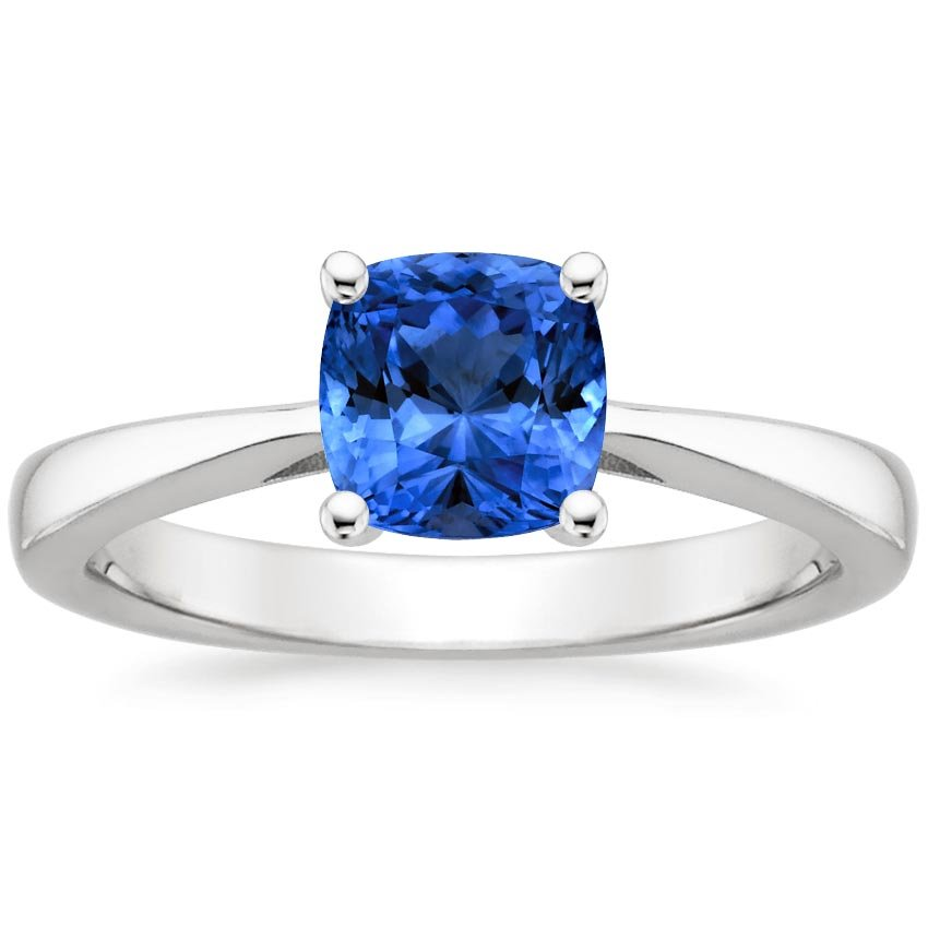 18K White Gold Sapphire Petite Tapered Trellis Ring, top view