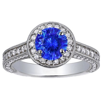 Sapphire Luxe Pavé Diamond Halo Ring in Platinum with 6.5mm Round Blue Sapphire