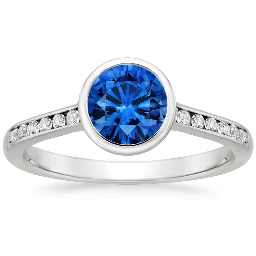 Sapphire Luxe Luna Diamond Ring in Platinum with 6mm Round Blue Sapphire