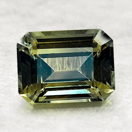 8x6mm Premium Green Emerald Cut Sapphire, top view