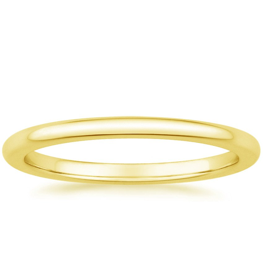 18K Yellow Gold Petite Comfort Fit Wedding Ring, top view