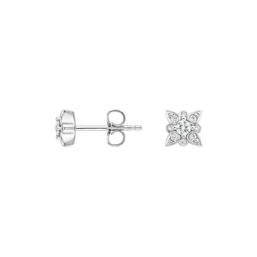 18K White Gold Dahlia Diamond Earrings (1/4 ct. tw.), top view