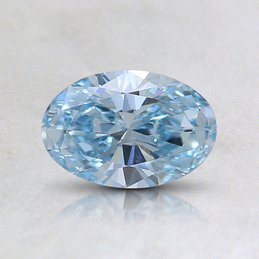 0.56 Ct. Fancy Intense Greenish Blue Oval Lab Created Diamond
