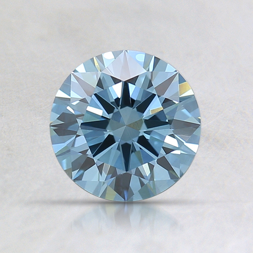 0.80 Ct. Fancy Deep Greenish Blue Round Lab Created Diamond