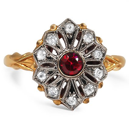 Edwardian Ruby Cocktail Ring