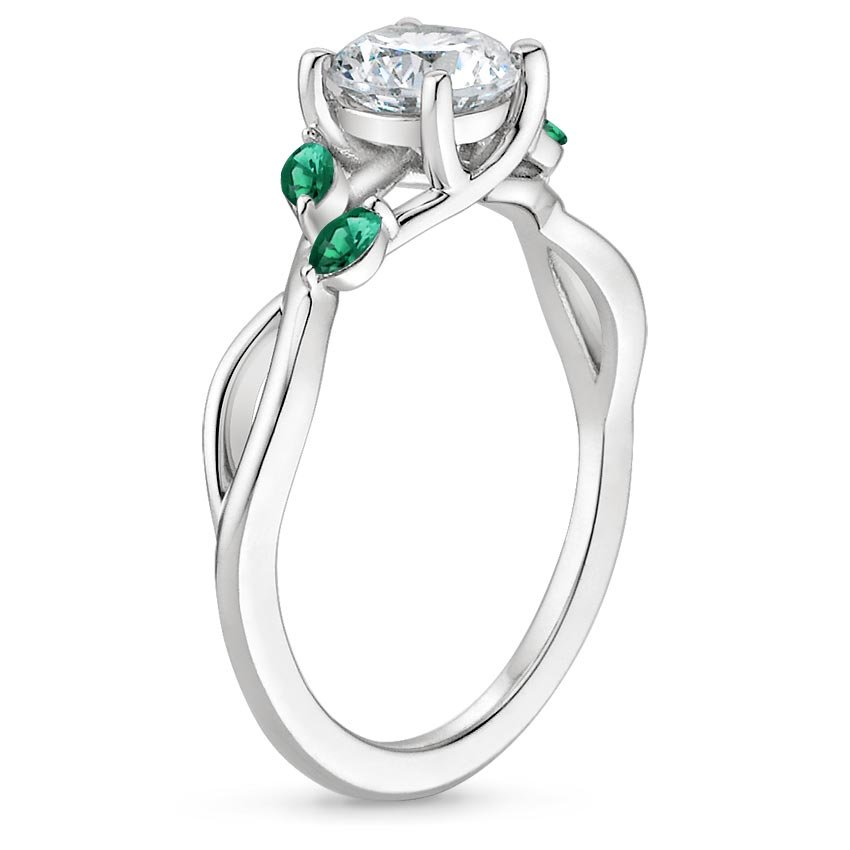 Sapphire Willow Ring With Lab Emerald Accents In 18k White Gold