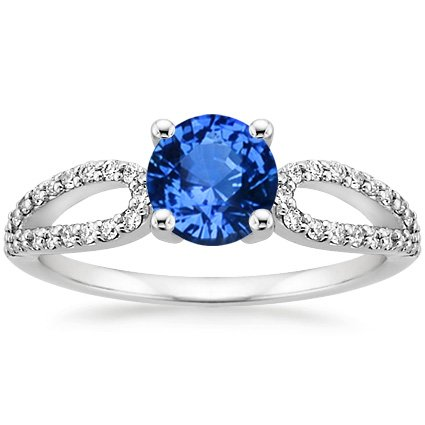 18K White Gold Sapphire Lumiere Diamond Ring, top view
