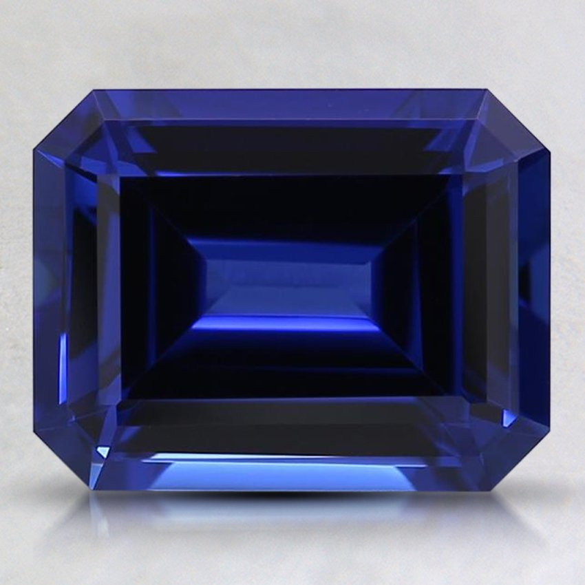 9x7mm Blue Emerald Cut Lab Created Sapphire