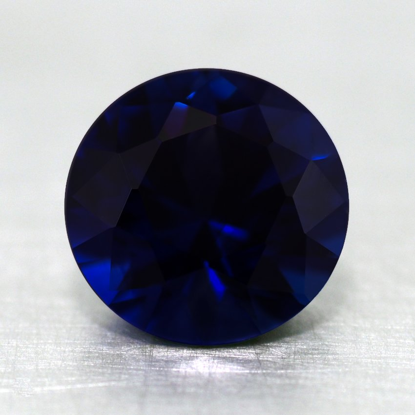 7mm Super Premium Dark Blue Round Sapphire, top view