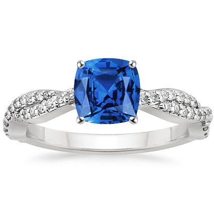 Sapphire Twisted Vine Diamond Ring in 18K White Gold with 6x6mm Cushion Blue Sapphire