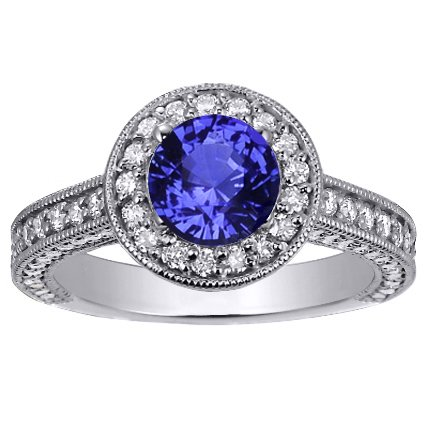 Sapphire Luxe Pavé Diamond Halo Ring in 18K White Gold with 6mm Round Blue Sapphire