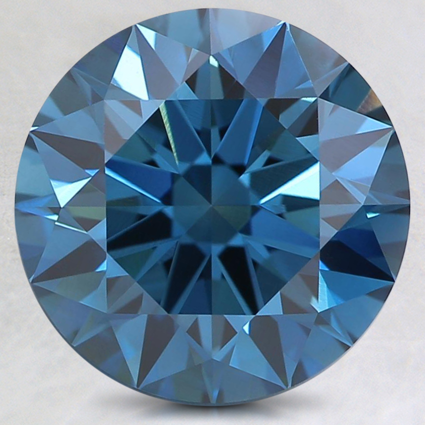 3.14 Ct. Fancy Dark Greenish Blue Round Lab Created Diamond