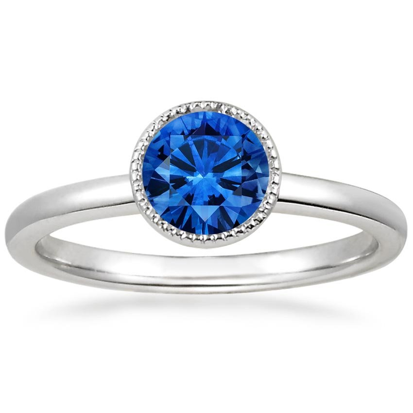 18K White Gold Sapphire Sierra Ring, top view