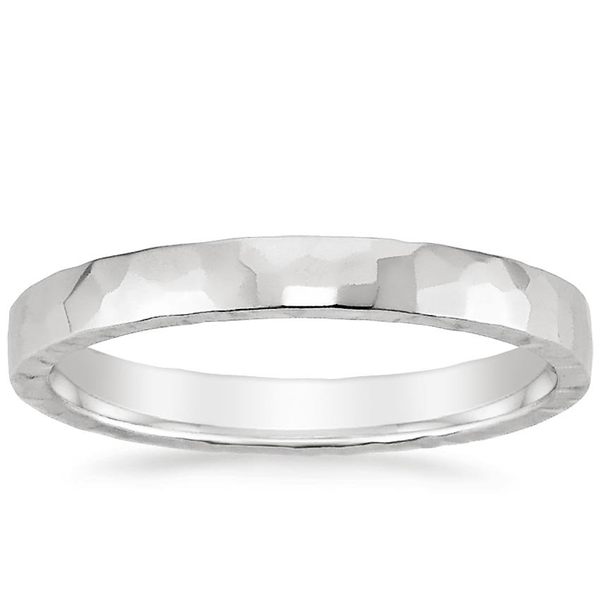 18K White Gold 2.5mm Hammered Quattro Wedding Ring, top view