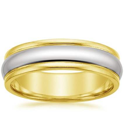 18K Yellow Gold Mixed Metal Tundra Ring, top view