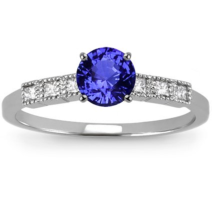 18K White Gold Sapphire Starla Ring, top view