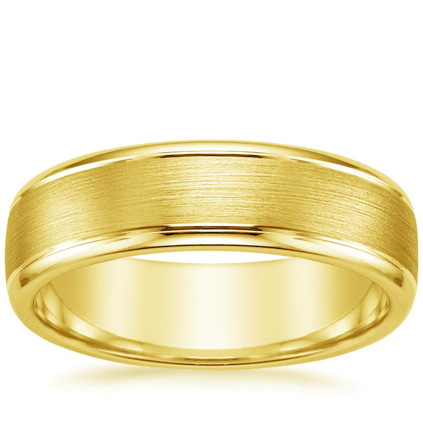 18K Yellow Gold Beveled Edge Matte Wedding Ring with Grooves, top view