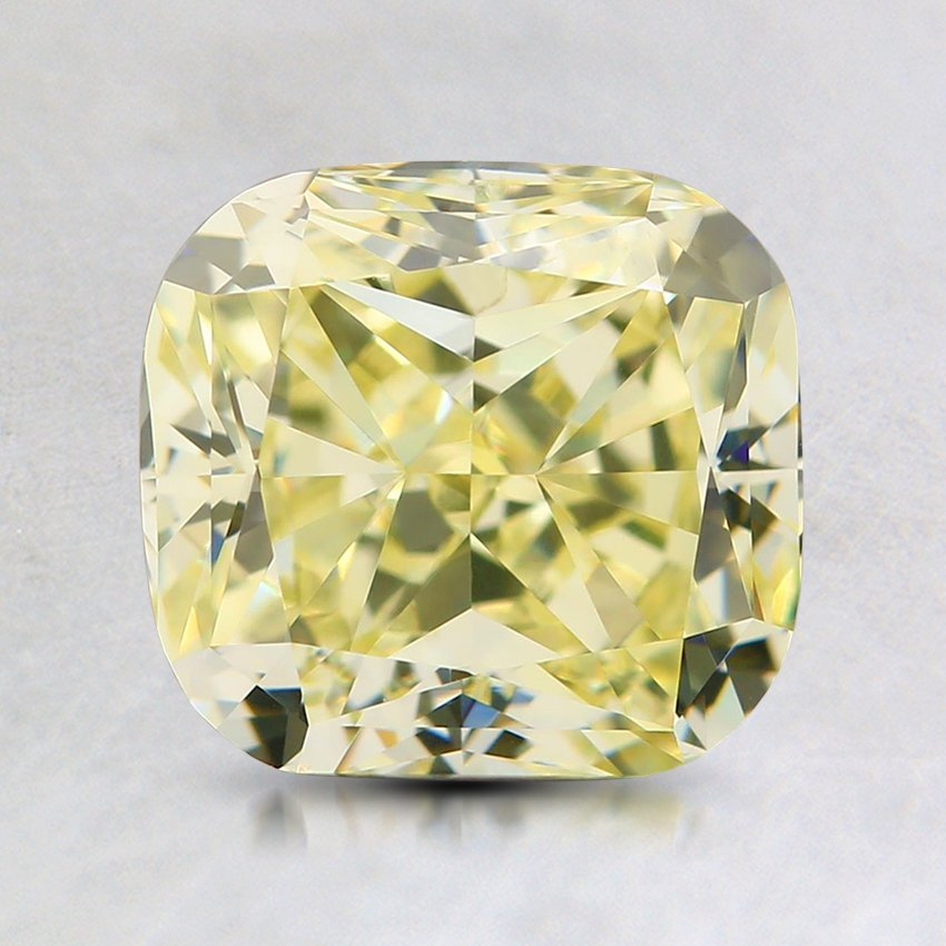 2.01 Ct. Natural Fancy Light Yellow Cushion Diamond, top view
