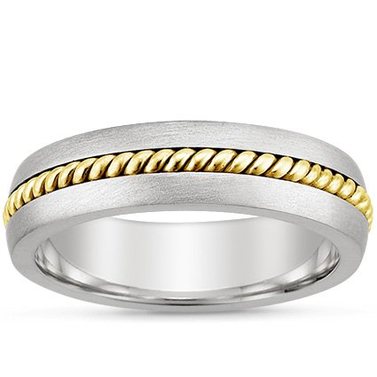 18K White Gold Entwined Inlay Wedding Ring, top view