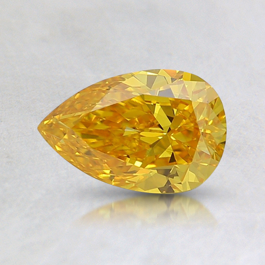 0.63 Ct. Fancy Vivid Orangy Yellow Pear Lab Created Diamond