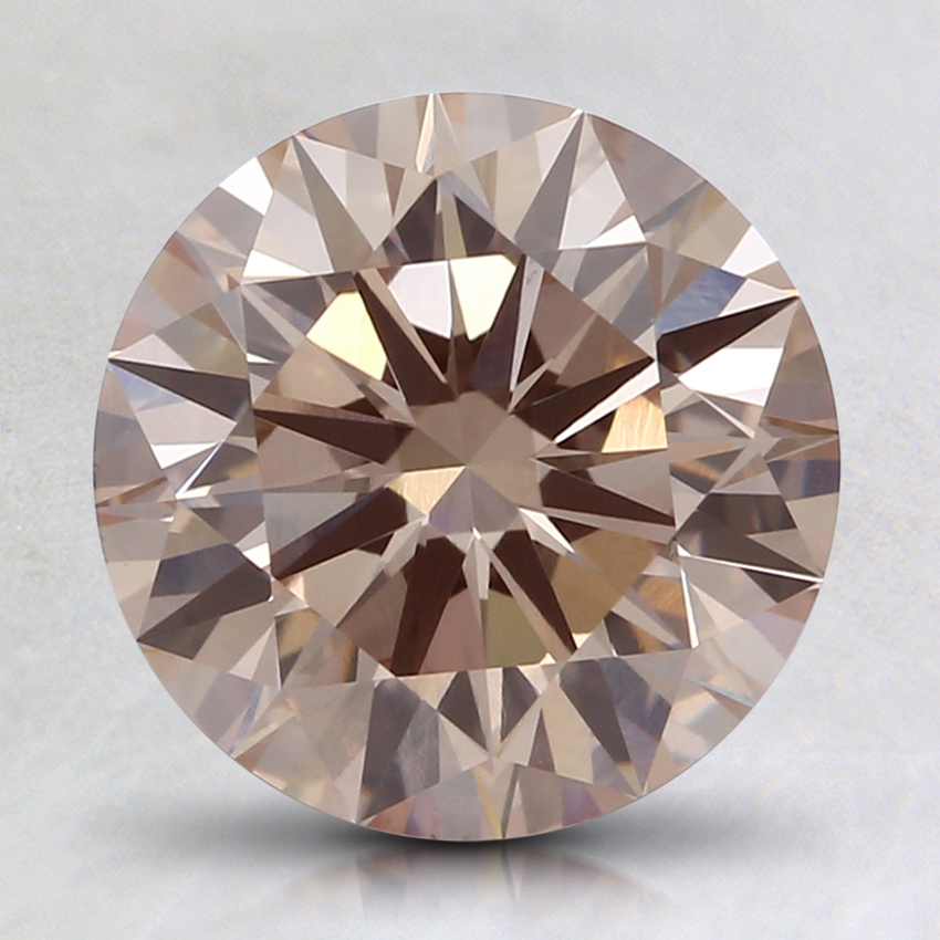 2.04 Ct. Fancy Light Orangy Pink Round Lab Created Diamond