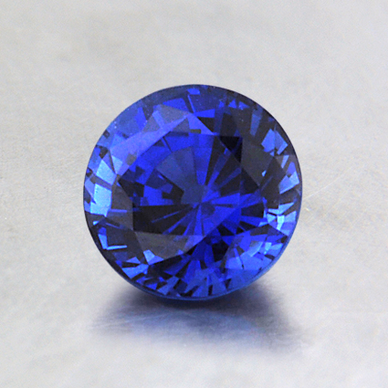 6mm Lab Created Blue Round Sapphire, top view