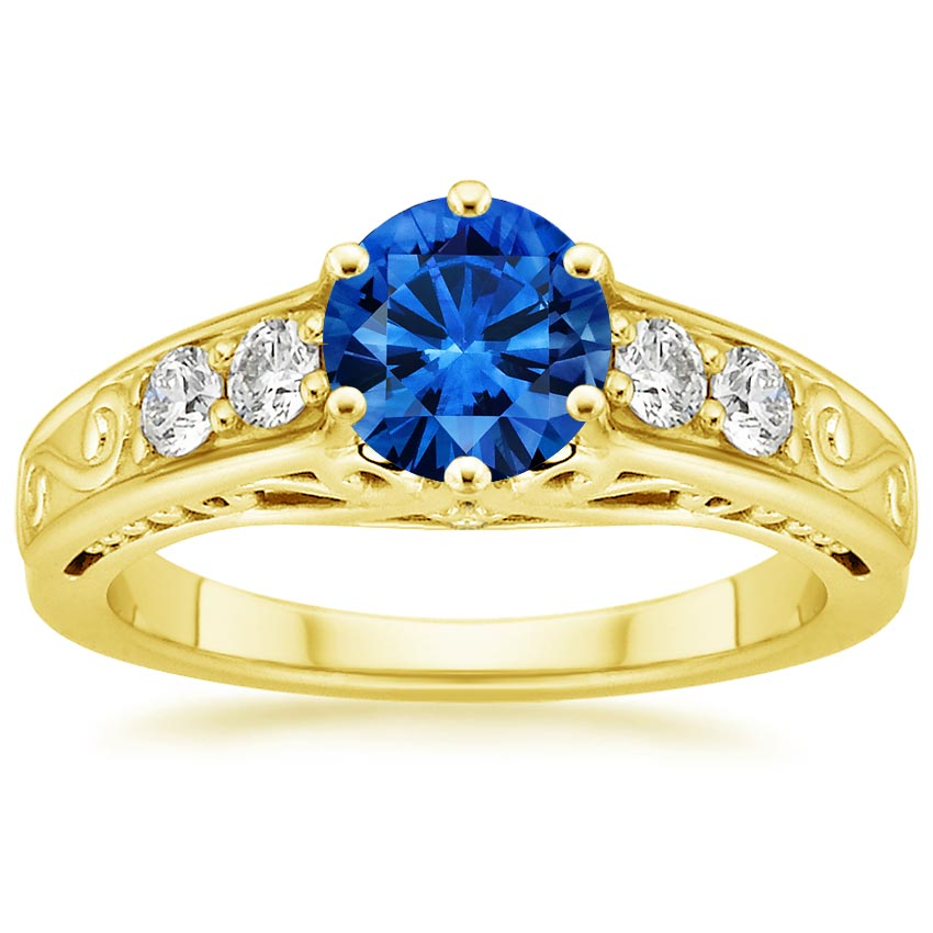 18K Yellow Gold Sapphire Art Deco Filigree Diamond Ring, top view