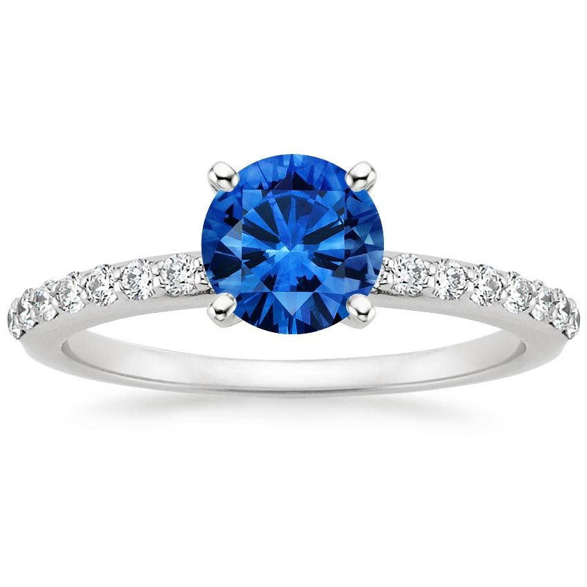 Platinum Sapphire Petite Shared Prong Diamond Ring, top view