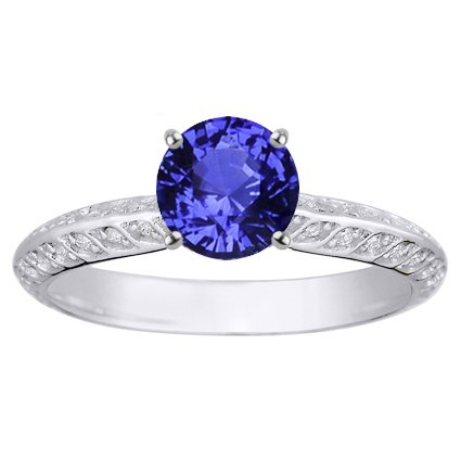 Sapphire Luxe Garland Ring in Platinum with 6mm Round Blue Sapphire