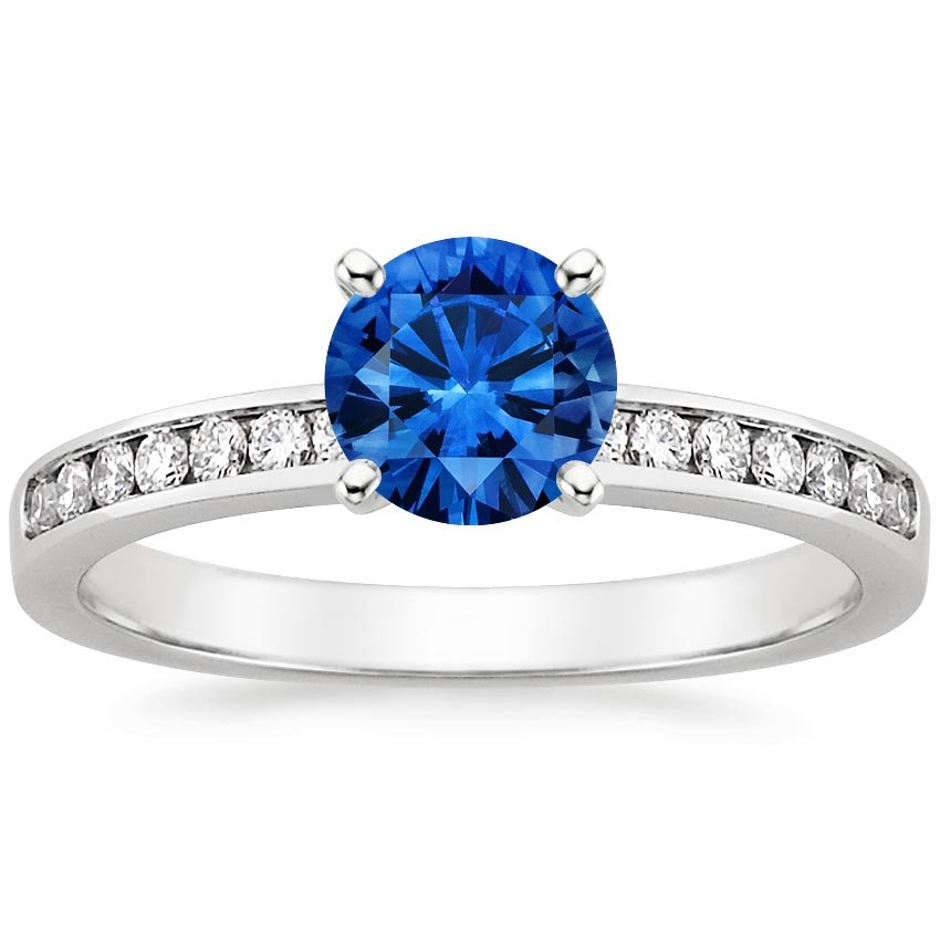 Platinum Sapphire Petite Channel Set Round Diamond Ring, top view