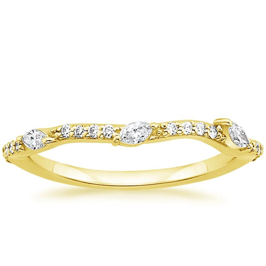 18K Yellow Gold Luxe Willow Contoured Diamond Ring (1/5 ct. tw.), top view