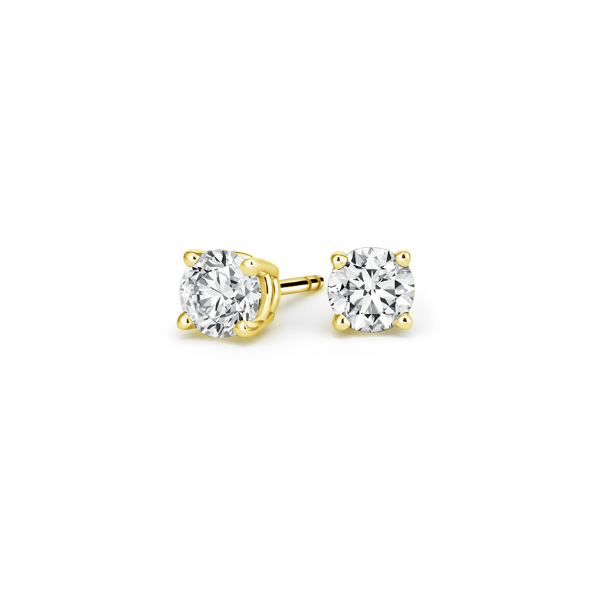 Round Diamond Stud Earrings (1/2 ct. tw.) in 18K Yellow Gold