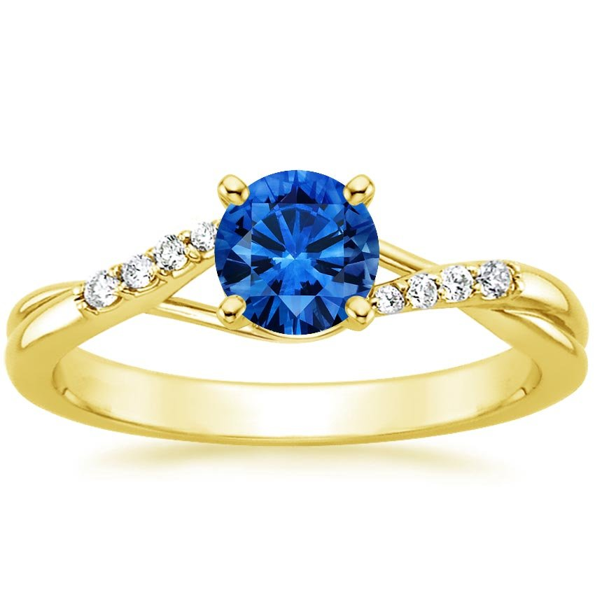 18K Yellow Gold Sapphire Chamise Diamond Ring, top view