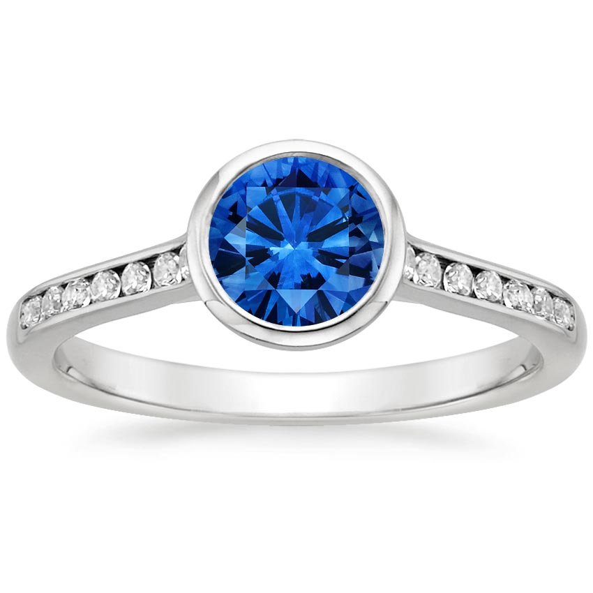 18K White Gold Sapphire Luxe Luna Diamond Ring, top view