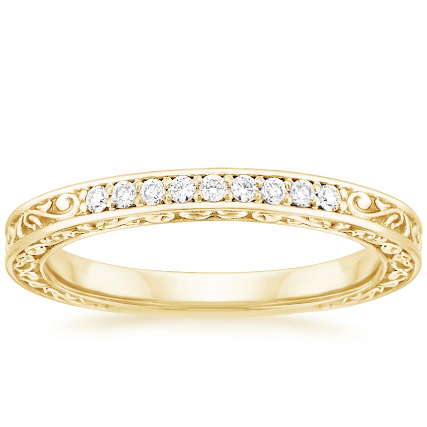 Yellow Gold Delicate Antique Scroll Diamond Ring (1/15 ct. tw.)