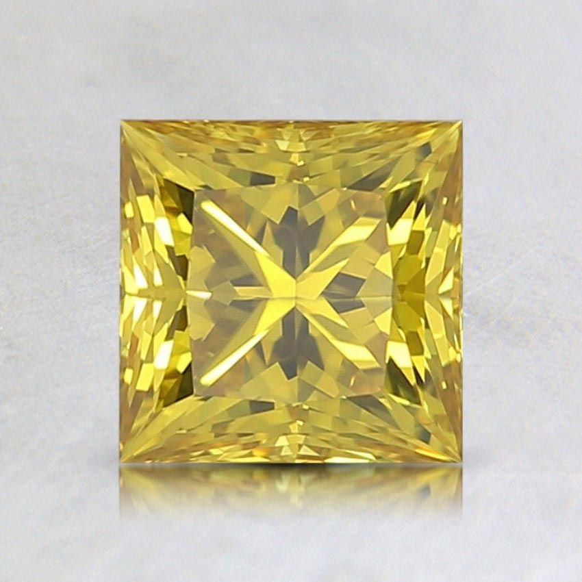0.74 Ct. Lab Created Fancy Vivid Yellow Princess Diamond