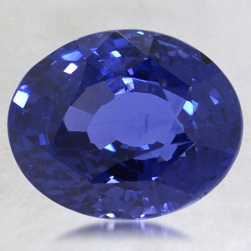 12.5x10.3mm Super Premium Blue Oval Sapphire, top view
