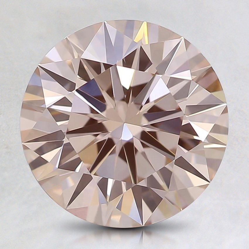 2.29 Ct. Fancy Orangy Pink Round Lab Created Diamond