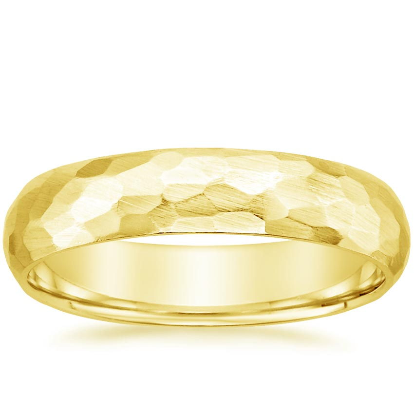 Yellow Gold Matte Hammered Men's Ring