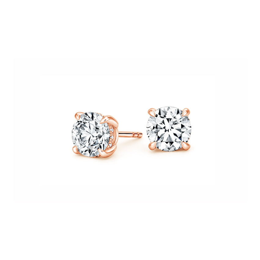14K Rose Gold Secret Halo Diamond Stud Earrings, top view