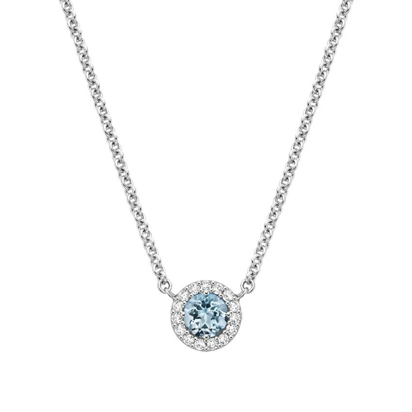 Aquamarine Halo Diamond Necklace
