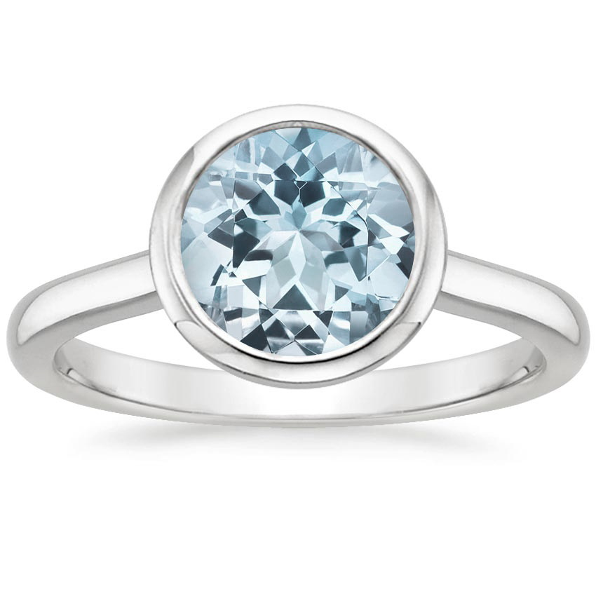 Aquamarine Luna Ring in 18K White Gold