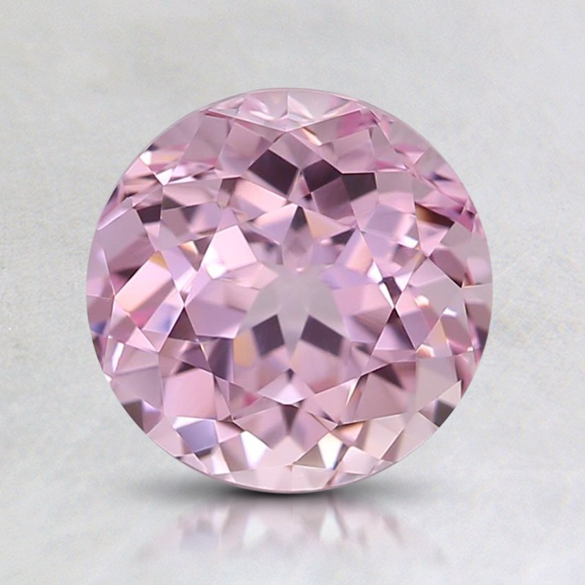 7mm Lab Created Pink Round Sapphire, top view