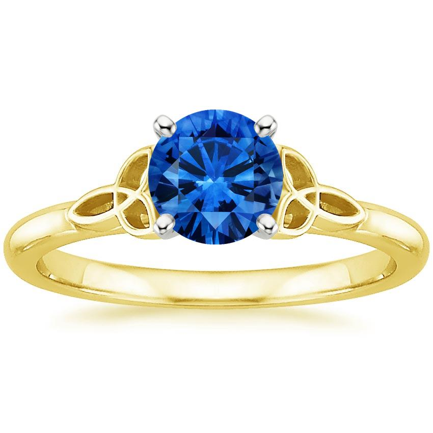 Sapphire Celtic Love Knot Ring In 18k Yellow Gold