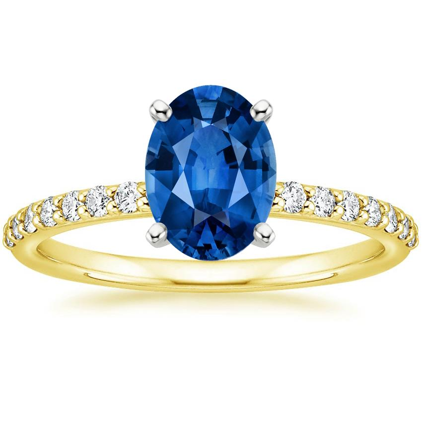 Sapphire Petite Shared Prong Diamond Ring in 18K Yellow Gold with 8x6mm Oval Blue Sapphire